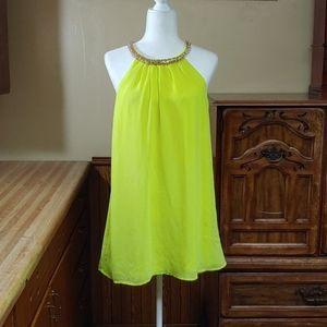 A'gaci🆕Bright Yellow Jeweled Collar Dress NWT M